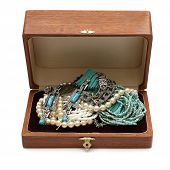 Chest Full Of Jewelry Treasures. Isolate On White