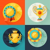 Backgrounds with trophy and awards in flat design style.