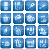 Cobalt Square 2D Icons Set: Kitchen utensils