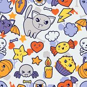pic of kawaii  - Seamless halloween kawaii pattern with cute doodles - JPG