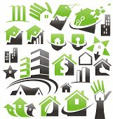 stock photo of cleaning agents  - Set of house icons - JPG