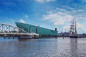 The Nemo Museum And Bridge In Amsterdam