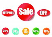 Sale tags with Sale up to 20 - 70 percent text on circle tags