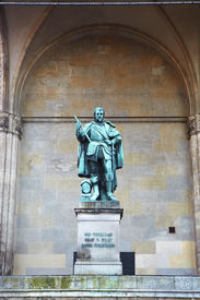 stock photo of graff  - The statue of Graff Tilly in front of the Feldherrnhalle  - JPG
