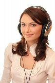 Beautiful girl in headsets