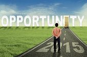 Manager On The Path With An Opened Opportunity Door