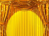 stock photo of curtains stage  - Theatrical curtain of yellow color - JPG