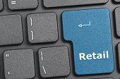 Blue retail key on keyboard