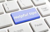 Blue helpful tips key on keyboard