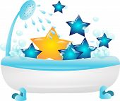pic of bubble-bath  - Bath full of stars decorated with shower and drops of water and bubbles - JPG