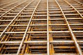 at a construction site are steel mesh to reinforce the bentonplatten