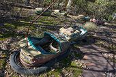 image of funfair  - Bumper cars in Pripyat ghost town in Chernobyl Exclusion Zone Ukraine - JPG