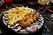 Chicken Kebab With Fried Potatoes