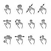 Gesture Icons Set for Mobile Touch Devices. Vector