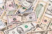 Background of different USA dollar bills