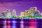 West Palm Beach, Florida, USA city skyline on the Intracoastal Waterway.