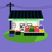 Fruits And Vegetables Shop Facade
