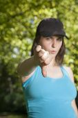 Thumb Down Young Woman