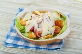 picture of caesar salad  - Caesar salad with chicken and iceberg salad - JPG