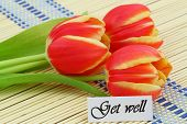 Get well card with red tulips on bamboo mat