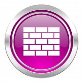 firewall violet icon brick wall sign