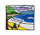 Handmade Stained Glass Composition With Abstract Coastal Landscape