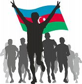 Winner with the  Azerbaijan flag at the finish
