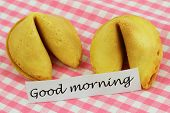 Good morning card with fortune cookies