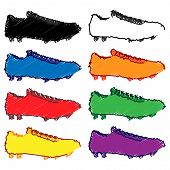 Football Cleats In Different Colours Pencil Style 1