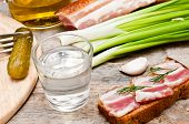 image of vodka  - glass of vodka onions and bacon sandwich  - JPG