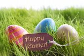 foto of colore  - Colorful Easter Background With Three Easter Eggs And Label With English Text Happy Easter On Green Grass For Happy Easter Seasons Greetings - JPG