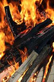 foto of flames  - Fire logs in flame - JPG