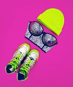 Stylish Accessories Glamorous Lady. Set To The Party: Fashion Sneakers, Bra And Hat
