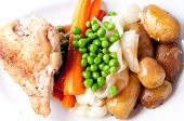 farm fresh vegetables with roasted chicken and fingerling potato