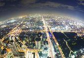 Aerial Fisheye View Of Osaka In Japan At Night
