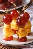Grapes And Cheese On Skewers Closeup Vertical