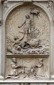 VIENNA, AUSTRIA - OCTOBER 10: Resurrection of Christ, Architectural details from the external walls of St Stephen's Cathedral in Vienna, Austria on October 10, 2014.