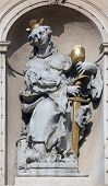 VIENNA, AUSTRIA - OCTOBER 10: Saint Barbara on baroque Jesuits church. The church was built between 1623 and 1627. in Vienna, Austria on October 10, 2014.