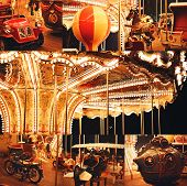 Collage Of Beautiful Illuminated Carousel