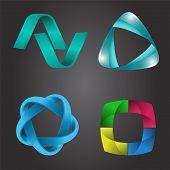 Logo Shape Set, 3D Style