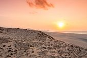 Sunset On Sand Dunes  In Chaves Beach Praia De Chaves In Boavista Island Cape Verde - Cabo Verde