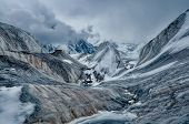 picture of shan  - Scenic view of Engilchek glacier in Tian Shan mountain range in Kyrgyzstan - JPG