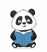stock photo of panda  - Clipart picture of a panda cartoon character reading a book - JPG