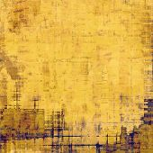 Grunge texture with decorative elements and different color patterns: blue; yellow (beige); brown