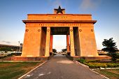 pic of saharan  - The Independence Arch of Independence Square of Accra Ghana at sunset - JPG