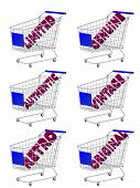 Blue 3D Shopping Cart With Vintage Texts