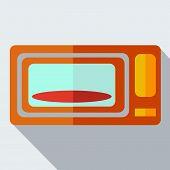 Modern flat design concept icon microwave.