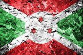 flag of Burundi painted on concrete wall