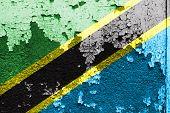 Tanzania Flag on grunge wall