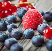 Fresh Berries and raspberry - Blueberries background closeup